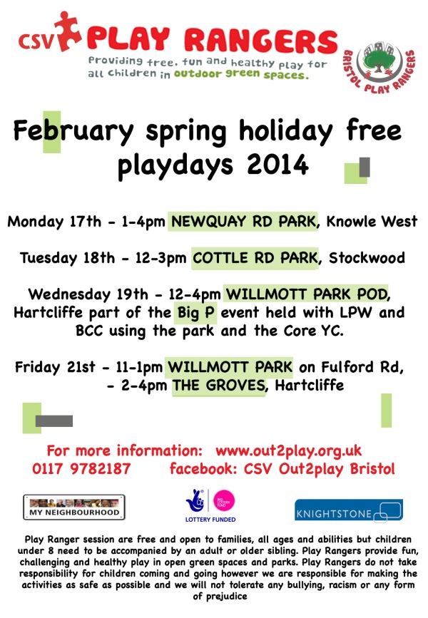 February free playdays in south Bristol